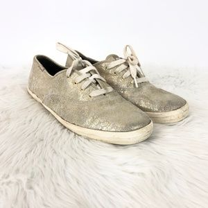 Keds Gold Metallic Lace-up Sneakers